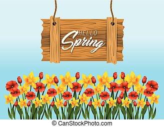 exotique, usines, emblème, printemps, bois, fleurs