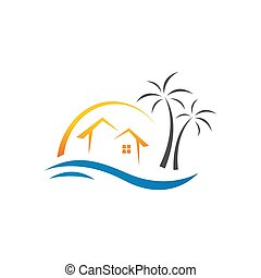 exotique, vecteur, gabarit, été, plage, illustration, logo, maison, conception
