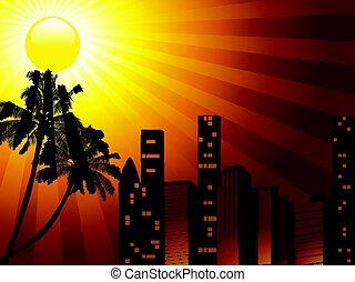 exotique, ville, palmier, coucher soleil