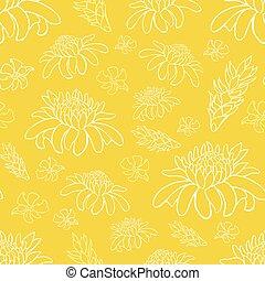 exotique, wallpaper., reprise, cadeau, fleurs, pattern., jaune, textile, recours, vecteur, suitable, plage, emballer