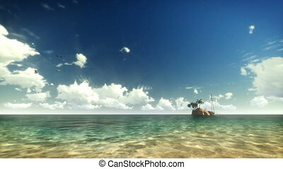 exotique, yacht, eau, gens