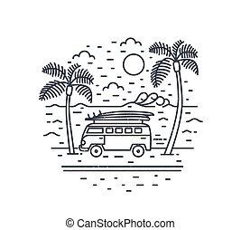 exotische , de zomervakantie, moderne, tropics., palm, zee, monochroom, omtrek, uitstapjes, zon, style., getrokken, samenstelling, bomen, lineair, campervan, kampeerder, illustratie, lines., vector, straat, of, schamelaanhanger