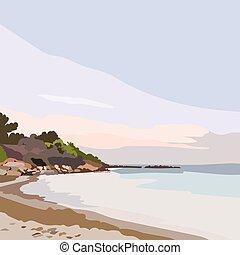 exotische , eiland, ondergaande zon , paradijs, strand, of, zonopkomst