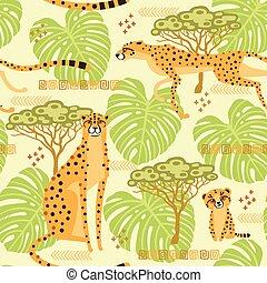 exotische , jungle., savannah., muster, reise, seamless, abbildung, stilisiert, wiederholt, vektor, hintergrund, wilde katzen, leoparde, geparde