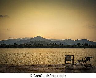 exotische , kampot, cambodja, tropische , ondergaande zon , azie, rivier, aanzicht