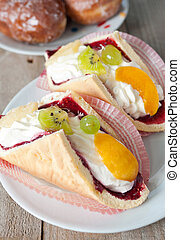 exotische , oud, cream-coloured, licht, vruchten, -, natuurlijke , eclair, fris, koekje, achtergrond, donuts, tafel