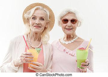 exotische , oud, drank, plezier, vrouwen, hebben, vrolijke