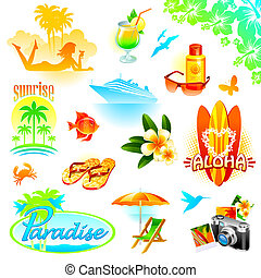exotische , satz, reise, cluburlaub, feiertage, tropische , vektor