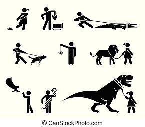 exotische , satz, tiere, owners., gefährlicher , ihr,...