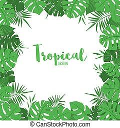 exotische , schattig, frame, leaves., tropische , groene
