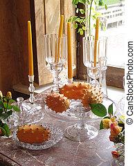 exotische , tisch, fru, geschirr