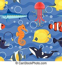 exotische , wohnung, stil, fish., muster, seamless, vektor
