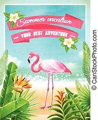 exotische , zomer, flamingo, poster, vakantie, vogel