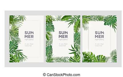 exotische , zomer, palm, lijstjes, kleurrijke, tropische , seizoenen, groene, randjes, verticaal, text., verzameling, gemaakt, illustration., bladeren, achtergronden, realistisch, vector, plek, jungle, gebladerte, of