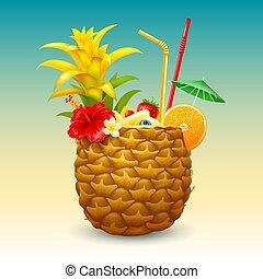 exotisk, cocktail, ananas