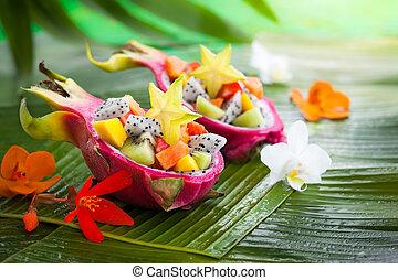 exotisk frukt, sallad