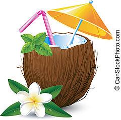 exotisk, kokosnöt, cocktail