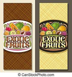 exotisk, layouter, vektor, frukter