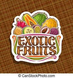 exotisk, logo, vektor, frukter