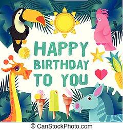 exotisk, papercraft., barn, animals., födelsedag, design, ...