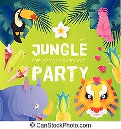 exotisk, söt, djuren, affisch, barn, template., djungel, ...