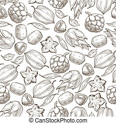 exotiska frukter, monokrom, seamless, carambola, kiwi, ...