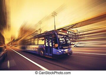 expédier, autobus, transport commun