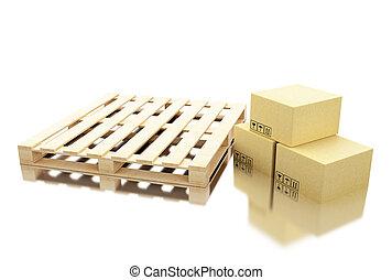 expédition, 3d, carton, palette, boîtes