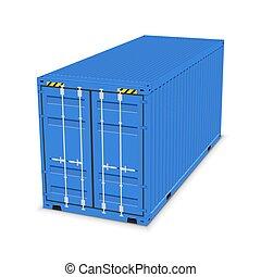 expédition, 3d, stockage, récipient cargaison, exportation, importation, box., isolé, entrepôt