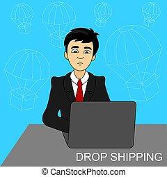 expédition, achat, homme affaires, produit, goutte, laptop., concept.