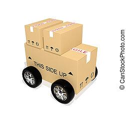 expédition, boîtes carton, roues