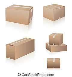 expédition, boîtes, collection