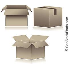 expédition, carton, boxes., brun