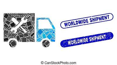 expédition, collage, service, fourgon, cachets, mondial, détresse, rectangle