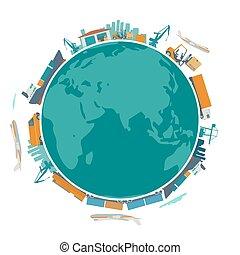expédition, entouré, livraison, global, plat, planète, warehouse., processus, production, globe, concept, vecteur, bateau, la terre, shop., train, mondial, logistique, -, avion, usine, business, illustration.