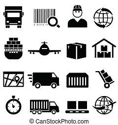 expédition, et, cargaison, icônes