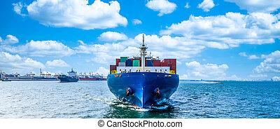 expédition, exportation, transport, compagnie, commerce, importation, business, oversea, mer, océan, cargaison, vessel., global, récipient bateau, mondial, industrie, logistique