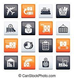 expédition, icônes, logistique, cargaison