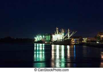 expédition, port, night.