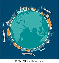 expédition, -, production, usine, livraison, global, logistique, concept, magasin