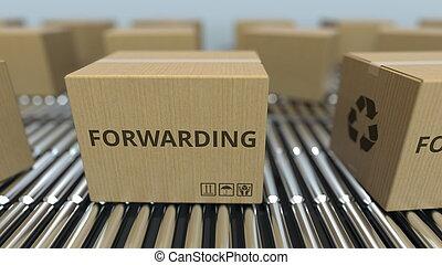 expédition, texte, conveyor., mouvement, rendre, boîtes, carton, rouleau, 3d