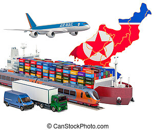 expédition, transport, cargaison, van., nord, bateau, avion, train, 3d, rendre, corée, fret, camion