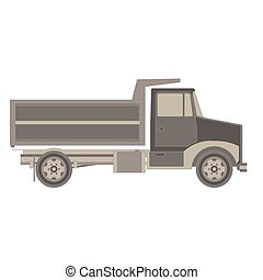 expédition, transport, cargaison, vecteur, vue., récipient, côté, fond, icône, isolé, blanc, caravane, illustration, camion, plat