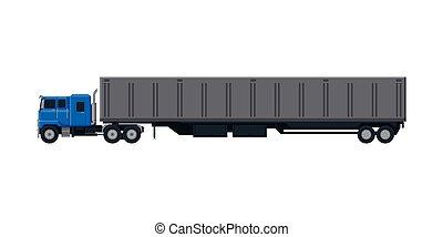 expédition, vue, camion, plat, livraison, côté, vecteur, caravane, cargaison, illustration, blanc, véhicule, fond