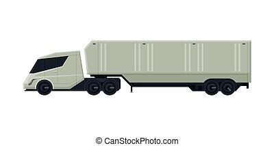 expédition, vue, moderne, camion, plat, livraison, côté, vecteur, caravane, cargaison, illustration, blanc, véhicule, fond