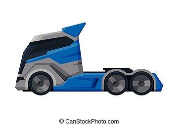 expédition, vue, moderne, camion, plat, livraison, côté, vecteur, cargaison, illustration, blanc, véhicule, fond