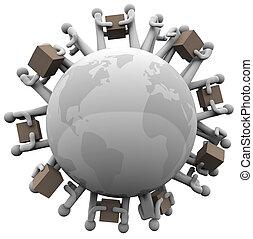 expéditions, autour de, global, expédition, mondiale, réception
