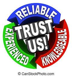 expérimenté, bien informé, fiable, nous, mots, cercle, confiance