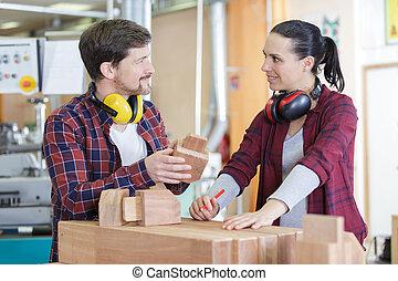 expérimenté, charpentiers, bois, vêtements travail, ...