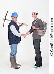 expérimenté, commerçant, réunion, sien, nouveau, apprenti, pour, les, premier, temps
